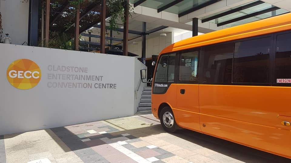 1770Shuttle bus parked at the Gladstone Enterainment Convention Centre